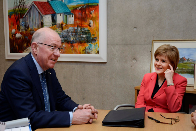 Minister for Foreign Affairs and Trade, Charlie Flanagan, who is in Scotland on his first official visit, meeting with Scottish First Minister Nicola Sturgeon at the Scottish Parliament, Edinburgh, 5 February 2015 GraceAveryPhotography.co.uk