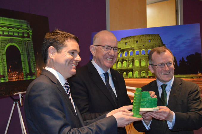 The Global Greening for St Patrick's Day 2015 was launched by Minister for Foreign Affairs and Trade, Charlie Flanagan, and Minister for Transport, Tourism and Sport, Paschal Donohoe, with Niall Gibbons, CEO of Tourism Ireland.