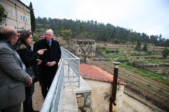 Minister Flanagan visiting the Cremisan Valley in the West Bank