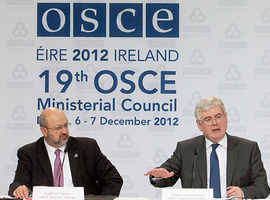 Tánaiste Eamon Gilmore and OSCE Secretary General Lamberto Zannier