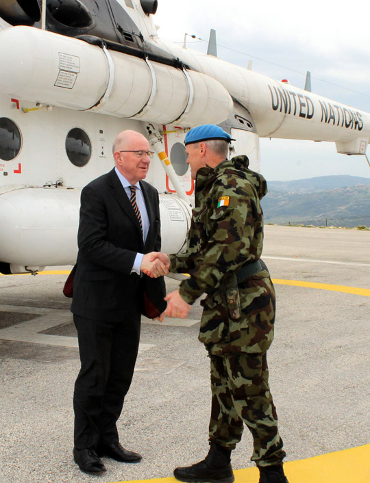Minister Charles Flanagan T.D. visiting Irish troops serving as UN peacekeepers in Lebanon