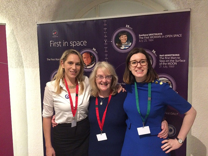Rosie Keane, Jackie O'Halloran, Director of the Disarmament and Non-Proliferation Unit, and Andrea Wickham Moriarty at the Photo Exhibition