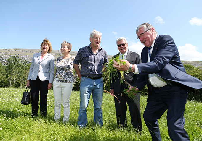 State Visit 2015 H.E. Mr Joachim Gauck, Droney's beef and sheep farm, Ballyvaughan, Co. Clare