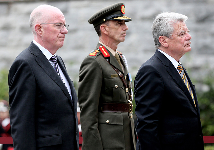 State Visit 2015 H.E. Mr Joachim Gauck, Minister Charles Flanagan TD  and Defence Forces Chief of Staff Lt General Conor O'Boyle at The Garden Of Remembrance