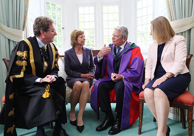State Visit 2015 NUI Galway Dr. Jim Browne, Ms. Schadt, Mr Joachim Gauck and Ms Maeve Browne