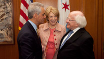 Visit to Chicago, Illinois & Bloomington, Indiana, USA by The President of Ireland and Sabina Higgins.Pictured is Mayor of Chicago, Rahm Emanuel, Sabina Higgins and President Higgins.Picture by Shane O'Neill / Copyright Fennell Photography 2014.